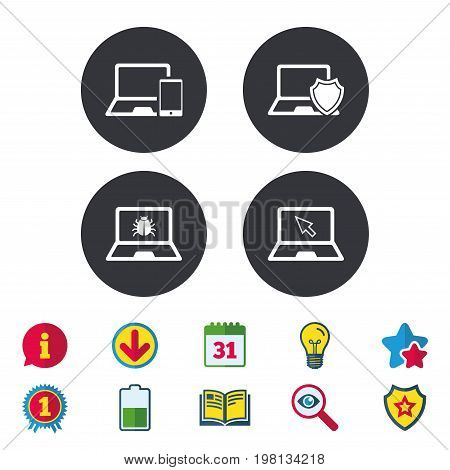 Notebook laptop pc icons. Virus or software bug signs. Shield protection symbol. Mouse cursor pointer. Calendar, Information and Download signs. Stars, Award and Book icons. Vector