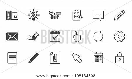 Office, documents and business icons. Accounting, strike and calendar signs. Mail, ideas and statistics symbols. Chat, Report and Calendar line signs. Service, Pencil and Locker icons. Vector
