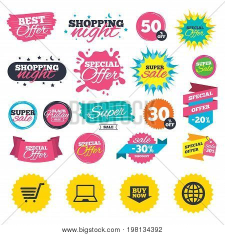 Sale shopping banners. Online shopping icons. Notebook pc, shopping cart, buy now arrow and internet signs. WWW globe symbol. Web badges, splash and stickers. Best offer. Vector