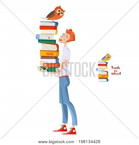 A boy with a pile of books and an owl. Back to school. Literacy Day. Vector illustration.