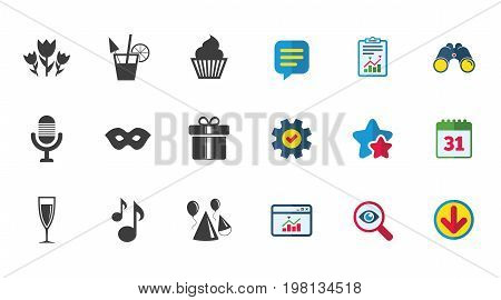Party celebration, birthday icons. Cocktail, air balloon and champagne glass signs. Gift box, flowers and carnival symbols. Calendar, Report and Download signs. Stars, Service and Search icons