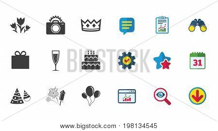 Party celebration, birthday icons. Fireworks, air balloon and champagne glass signs. Gift box, flowers and photo camera symbols. Calendar, Report and Download signs. Stars, Service and Search icons
