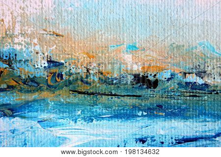 Abstract Painted Gold and Blue Seascape Triptych