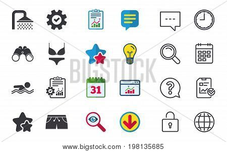Swimming pool icons. Shower water drops and swimwear symbols. Human swims in sea waves sign. Trunks and women underwear. Chat, Report and Calendar signs. Stars, Statistics and Download icons. Vector