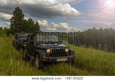 29.07.2017. Leningrad region. Russia. camping cars Jeep Wrangler. Wrangler is a compact SUV manufactured by Chrysler