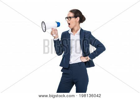 Beautiful Angry Businesswoman Yelling And Holding Megaphone, Isolated On White