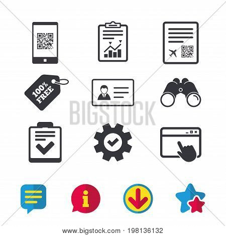 QR scan code in smartphone icon. Boarding pass flight sign. ID card badge symbol. Check or tick sign. Browser window, Report and Service signs. Binoculars, Information and Download icons. Vector