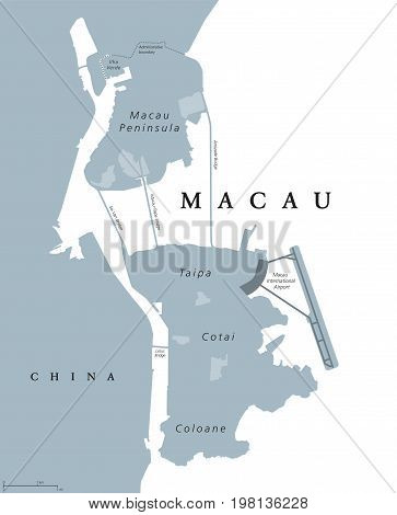 Macau political map. Also spelled Macao. English labeling. Special Administrative Region of Peoples Republic of China in East Asia. Worlds largest gambling centre. Gray illustration over white. Vector