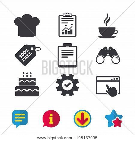 Coffee cup icon. Chef hat symbol. Birthday cake signs. Document file. Browser window, Report and Service signs. Binoculars, Information and Download icons. Stars and Chat. Vector