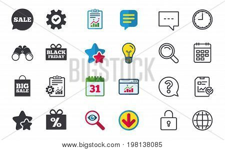 Sale speech bubble icon. Black friday gift box symbol. Big sale shopping bag. Discount percent sign. Chat, Report and Calendar signs. Stars, Statistics and Download icons. Question, Clock and Globe
