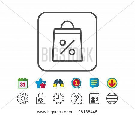 Shopping bag with Percentage line icon. Supermarket buying sign. Sale and Discounts symbol. Calendar, Globe and Chat line signs. Binoculars, Award and Download icons. Editable stroke. Vector