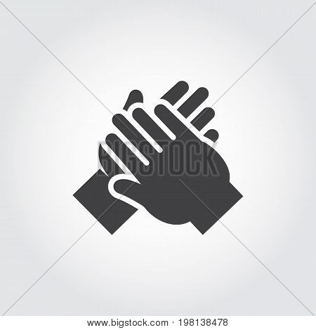 Icon of human hands applause. Symbol of ovation, cheers, clapping. Simple black flat pictogram. Vector illustration for websites, mobile apps, games and other design projects