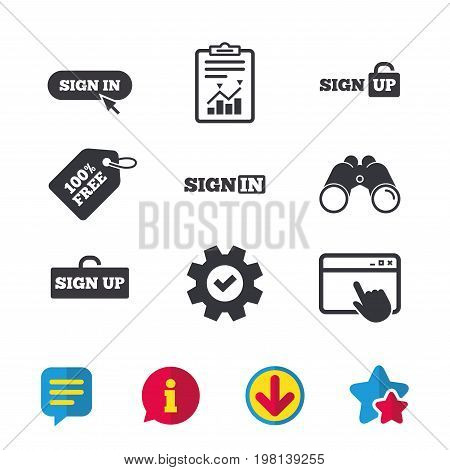 Sign in icons. Login with arrow, hand pointer symbols. Website or App navigation signs. Sign up locker. Browser window, Report and Service signs. Binoculars, Information and Download icons. Vector
