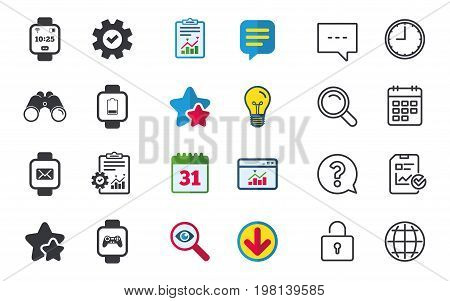Smart watch icons. Wrist digital time watch symbols. Mail, Game joystick and wi-fi signs. Chat, Report and Calendar signs. Stars, Statistics and Download icons. Question, Clock and Globe. Vector