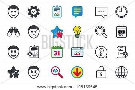 Human smile face icons. Happy, sad, cry signs. Happy smiley chat symbol. Sadness depression and crying signs. Chat, Report and Calendar signs. Stars, Statistics and Download icons. Vector