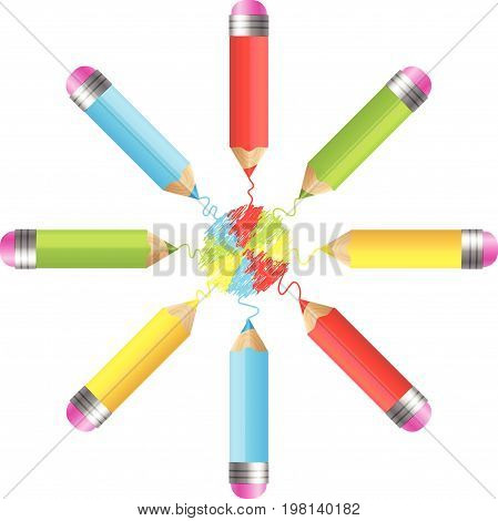 A set of realistic pencils or crayons with colorful brush strokes. .Back to School top view background. Vector Illustration