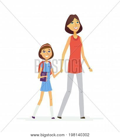 Walk To School- colored vector modern flat design composition of people cartoon characters. Mother goes with her daughter with backpack and book hand in hand. Happy and proud