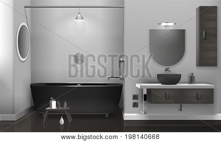 Realistic bathroom interior design with black sanitary equipment, two mirrors on grey wall, glossy floor vector illustration