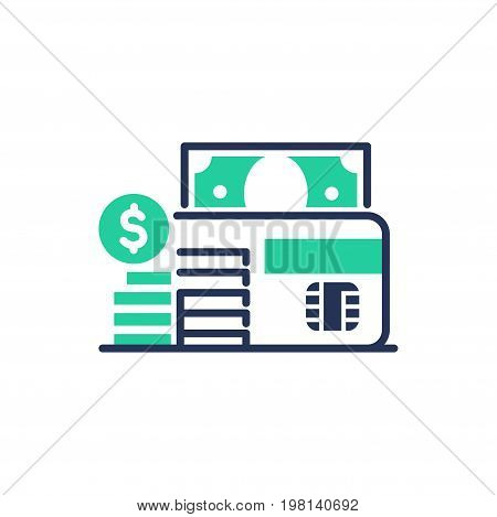 Debit Card - modern vector single line design icon. An isolated item of the banking system, microchip, green color, coins stack, dollar sign and paper bill. White background.