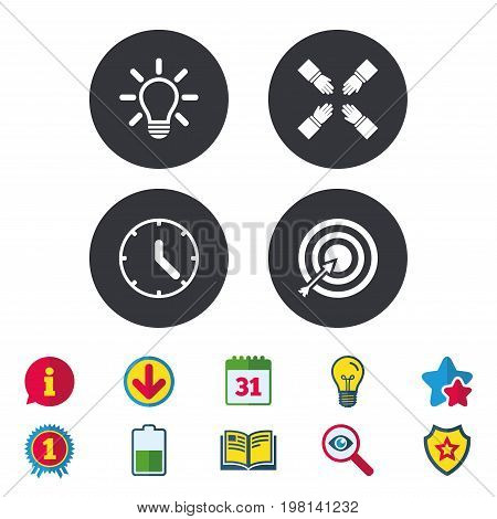 Lamp idea and clock time icons. Target aim sign. Darts board with arrow. Teamwork symbol. Calendar, Information and Download signs. Stars, Award and Book icons. Light bulb, Shield and Search. Vector