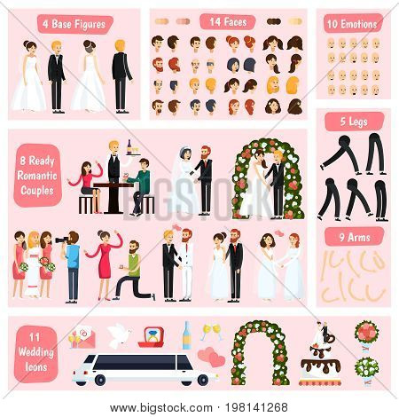 Colored wedding people orthogonal character constructor icon set with base figures different fases emotions legs arms and romantic couples vector illustration