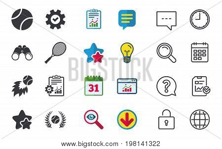 Tennis ball and racket icons. Fast fireball sign. Sport laurel wreath winner award symbol. Chat, Report and Calendar signs. Stars, Statistics and Download icons. Question, Clock and Globe. Vector