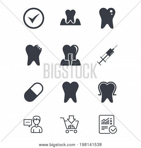 Tooth, dental care icons. Stomatology, syringe and implant signs. Healthy teeth, caries and pills symbols. Customer service, Shopping cart and Report line signs. Online shopping and Statistics. Vector