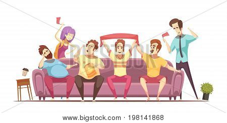 Sedentary lifestyle retro cartoon design with excited fans and fat persons on sofa during broadcasting vector illustration