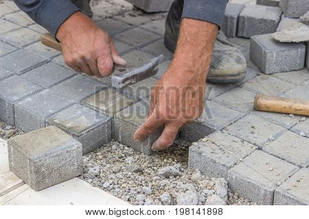 Worker Hands  Laying Concrete Brick Pavers