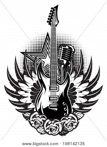 Guitar microphone wings roses on the poster for a rock concert