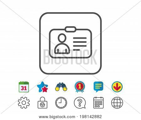 ID card line icon. User Profile sign. Person silhouette symbol. Identification plastic card. Calendar, Globe and Chat line signs. Binoculars, Award and Download icons. Editable stroke. Vector