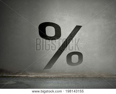Interest rate symbol. Mixed media