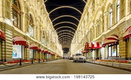 Moscow, Russia - August 02, 2017: GUM at night - the famous shopping mall in the center of city Moscow, Russia. GUM is located on the Red Square