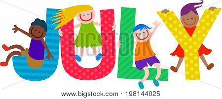 Happy cartoon smiling children climbing over letters of the alphabet that spell out the word JULY.