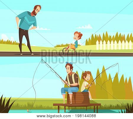 Fatherhood 2 retro cartoon outdoor activities banners with fishing together and little boy cycling isolated vector illustration