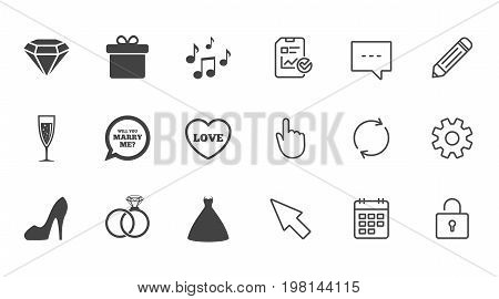 Wedding, engagement icons. Rings, gift box and brilliant signs. Dress, shoes and musical notes symbols. Chat, Report and Calendar line signs. Service, Pencil and Locker icons. Vector