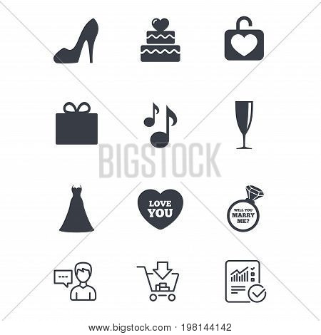 Wedding, engagement icons. Cake with heart, gift box and brilliant signs. Dress, shoes and musical notes symbols. Customer service, Shopping cart and Report line signs. Online shopping and Statistics