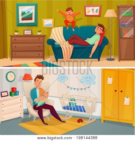 Two horizontal fatherhood banner set with what the parent treats the child concept vector illustration
