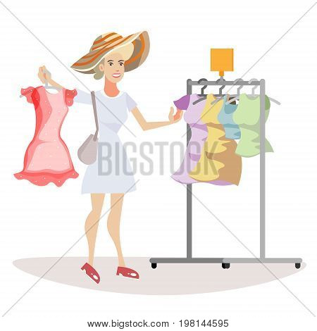 Woman chooses what to wear. Vector flat cartoon illustration