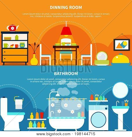 Interior and furniture horizontal banners set with dining room and bathroom flat isolated vector illustration
