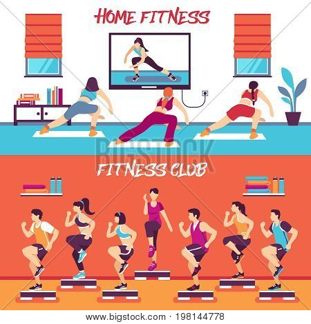 Home and club fitness classes 2 flat horizontal banners set with aerobic steps and slide boards vector illustration