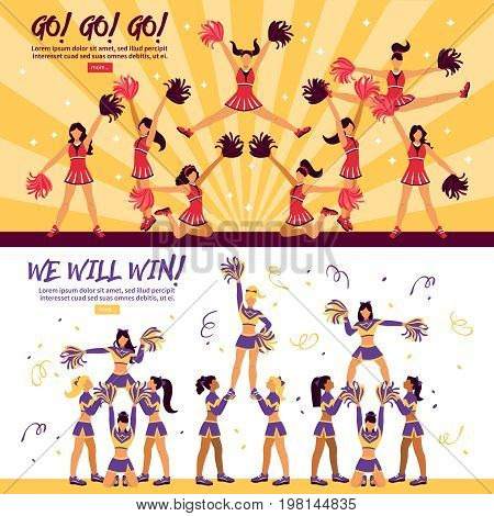 Football soccer sport clubs cheerleaders and supporters  information 3 flat horizontal banners webpage design isolated vector illustration