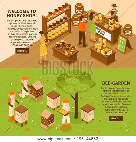 Bee garden farm with beehives and natural organic honey shop 2 horizontal isometric banners set vector illustration