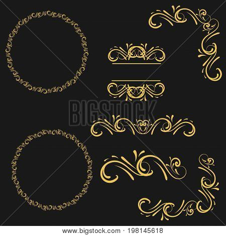 Golden Flourishes and Swirls collection , typographic, foliate, ruler, type, dingbats