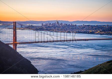 Golden Gate Bridge In San Francisco At Sunrise