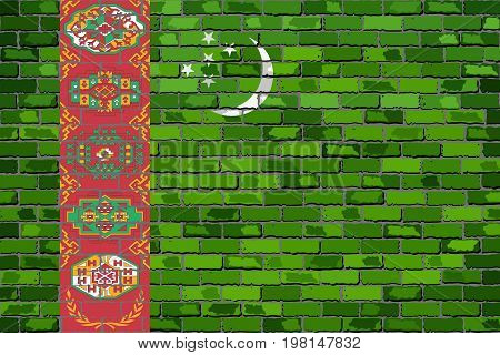Flag of Turkmenistan on a brick wall - Illustration,  Turkmenistan flag on brick textured background,  Abstract grunge mosaic vector