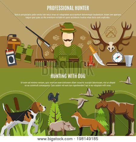 Professional hunter horizontal banners set with wild animals symbols flat isolated vector illustration