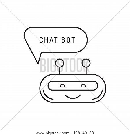 Chatbot avatar icon in a linear fashion for mobile applications isolated on white background