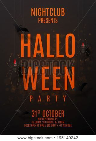 Dark party flyer for halloween. Vector illustration. Festive card with spiders on spider web. Invitation to nightclub with paper bats.