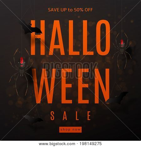 Dark background for halloween sale. Festive card with spiders on spider web. Vector illustration with paper bats.